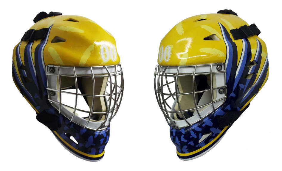 Crow themed goalie mask with simplistic design