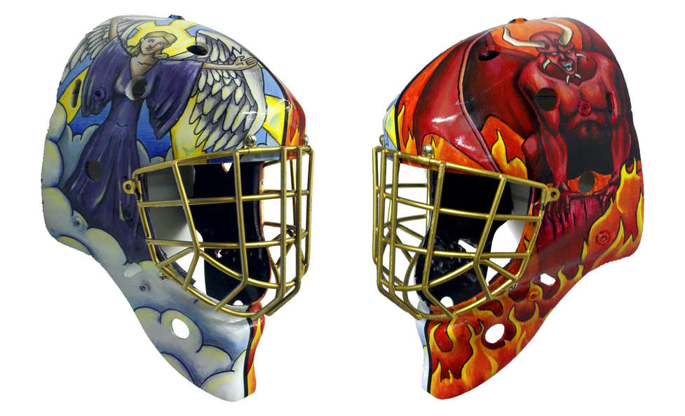 Hand painted Heaven and Hell themed goalie mask