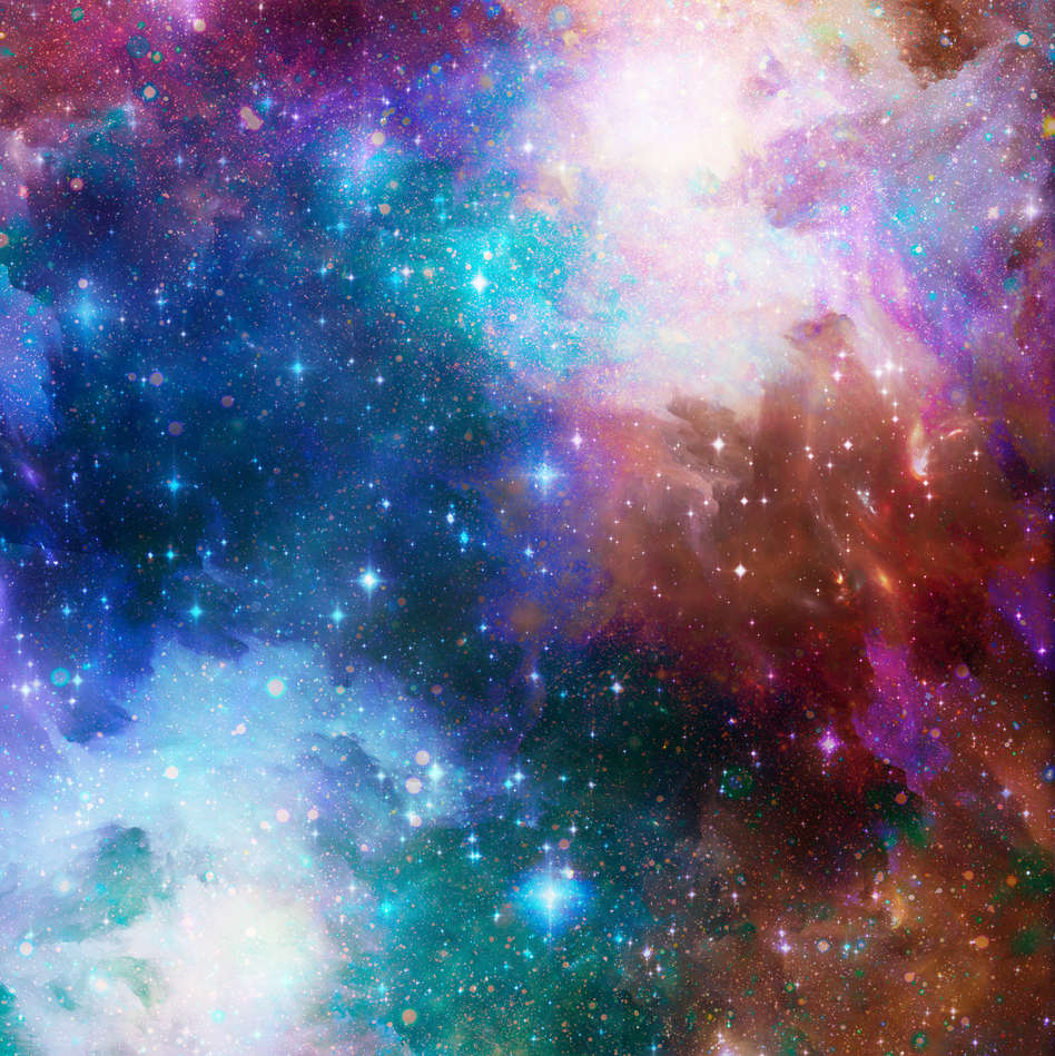 Image manipulation and layering to create cosmic scene