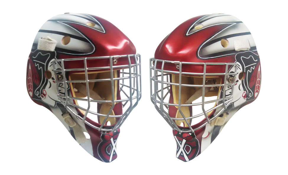 Blackhawks themed goalie mask