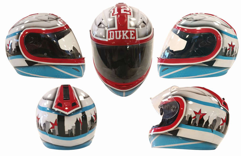 Chicago themed racing helmet
