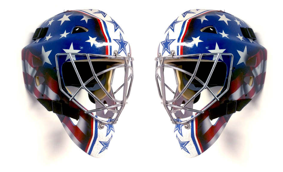 USA themed goalie mask