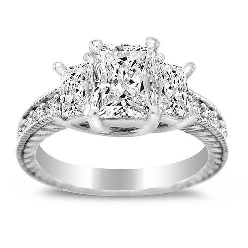 14k White Gold 1 3/4ct TGW Emerald-cut Diamonette Engagement Ring
