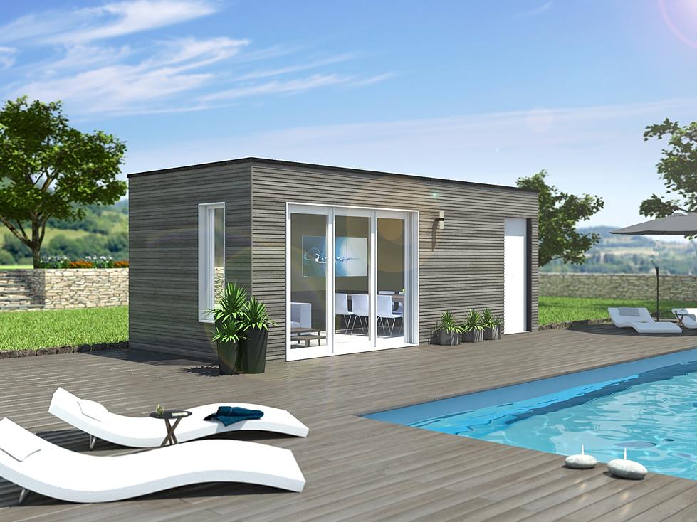 pool house poolhouse pool house bois habitat bois. Black Bedroom Furniture Sets. Home Design Ideas