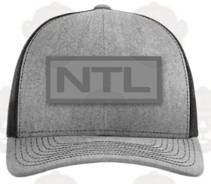 Trucker Hat: Grey/Woven Patch