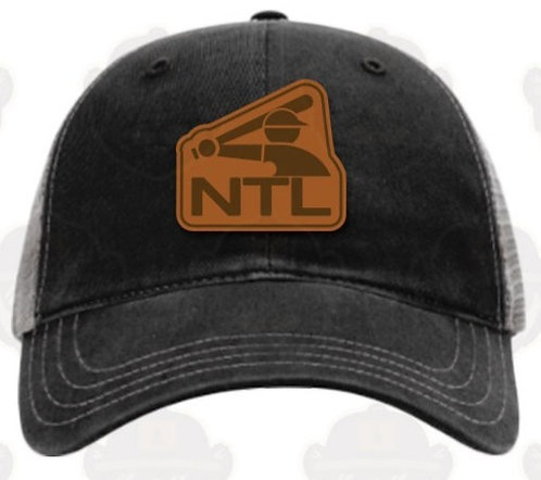 Trucker Hat: Black/Leather Patch