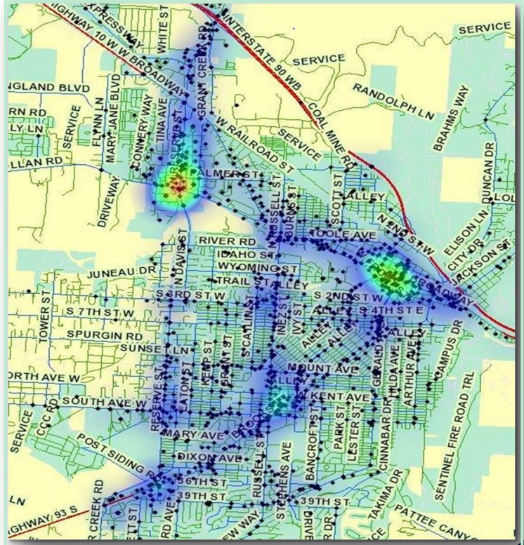 Map of Missoula Montana indicateing the density of crashes.  The intersedction of Mullan Road and Reserve appears to hae the highest density of crashes followed by Broadway and Higgends and South and Brooks.