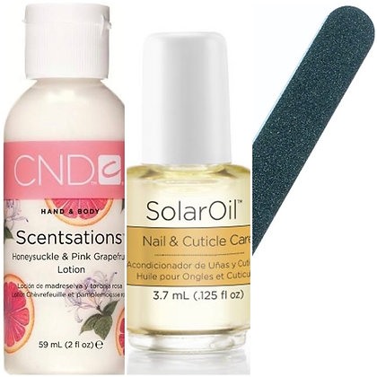 Pack A: Scentsations hand lotion, small solar oil plus emery board