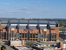 Lucas oil stadium. Cropped aerial photo.
