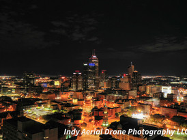 Indianapolis aerial photo at night