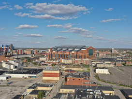 Lucas Oil stadium and the downtown Indianapolis skyline.