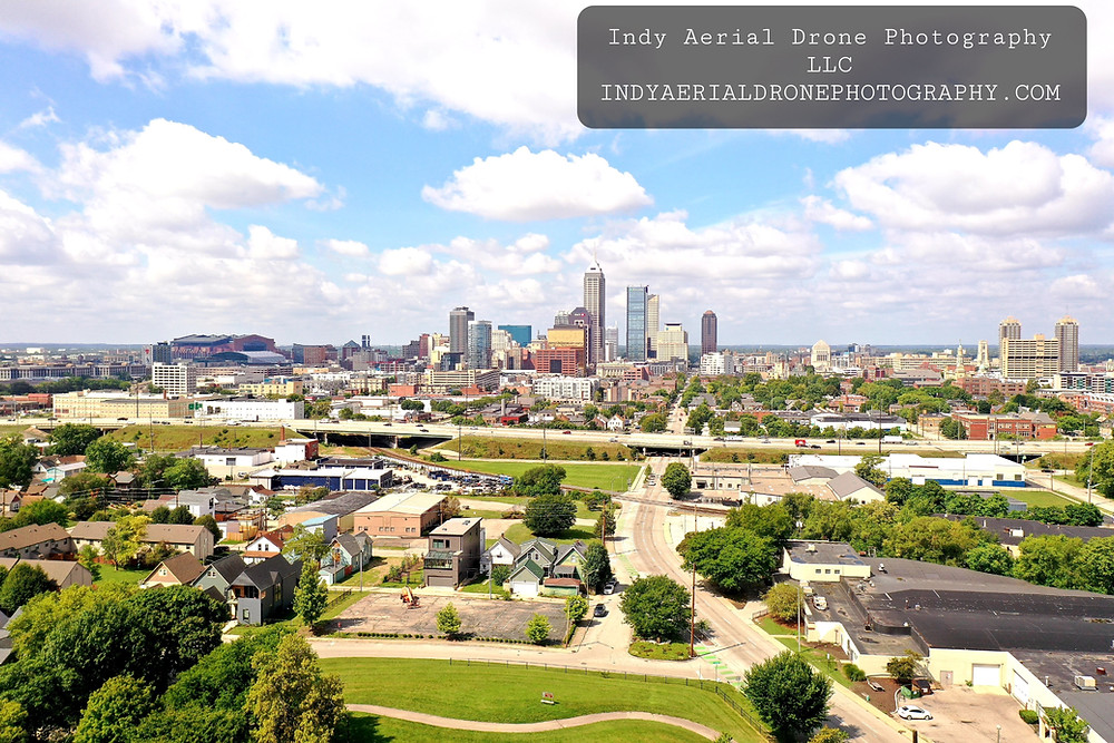 Indianapolis Indiana facing west from the east. Aerial photography from about a mile east of downtown.