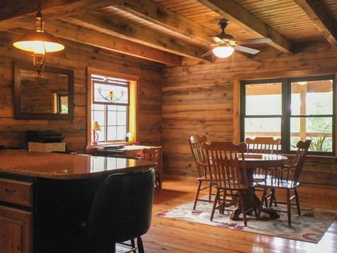 log cabin dining area