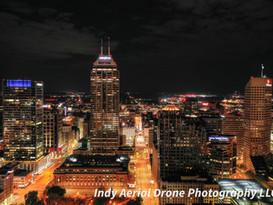 Aerial Photo of Downtown Indianapolis looking down Meridian street.