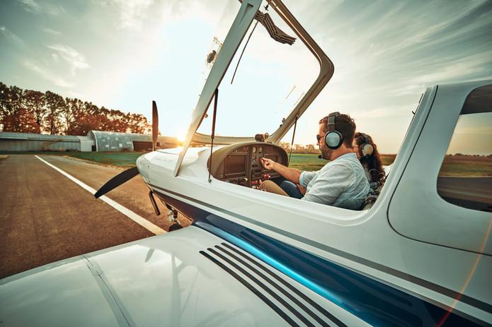 Pilot with co-pilot prepare take off in