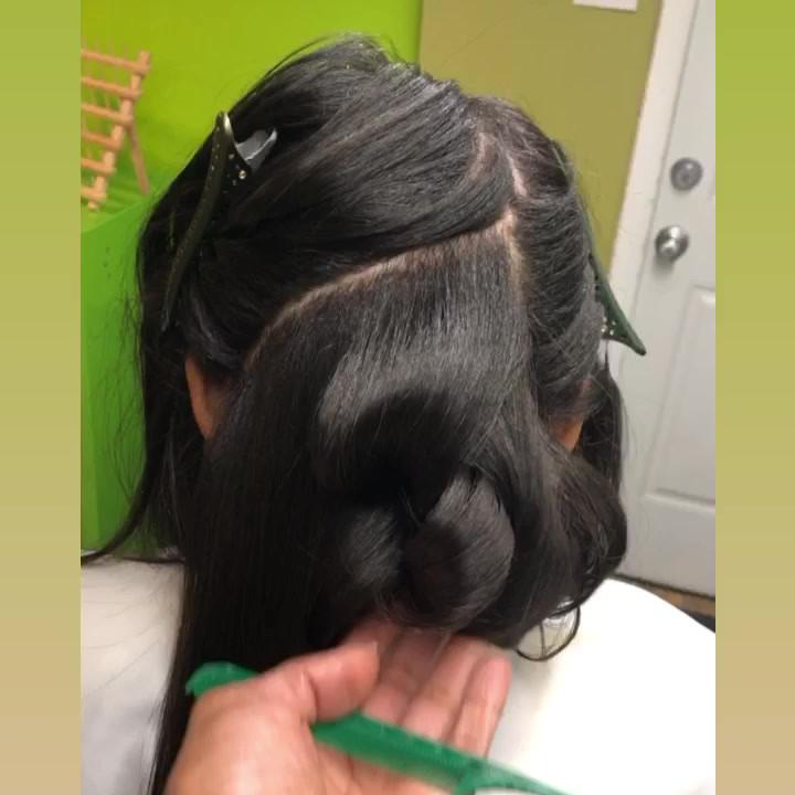 Silk Press w Big Bouncy Curls
