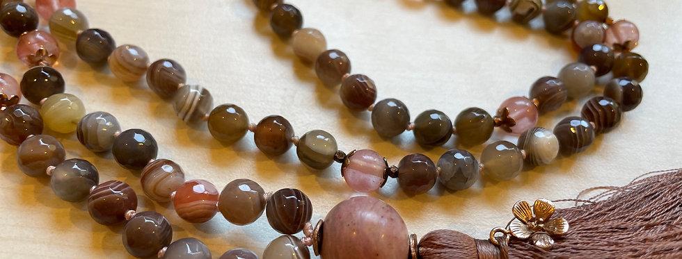 Bohemian Rose Gold Mala Necklace, Yoga Necklance with Silk Tassel (108 & Guru)