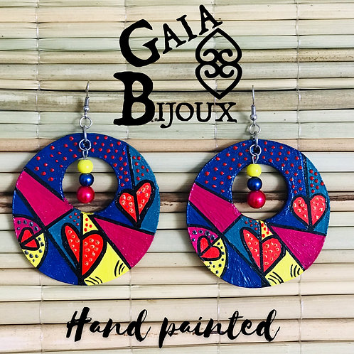 Hand painted earrings Aros pintados a mano