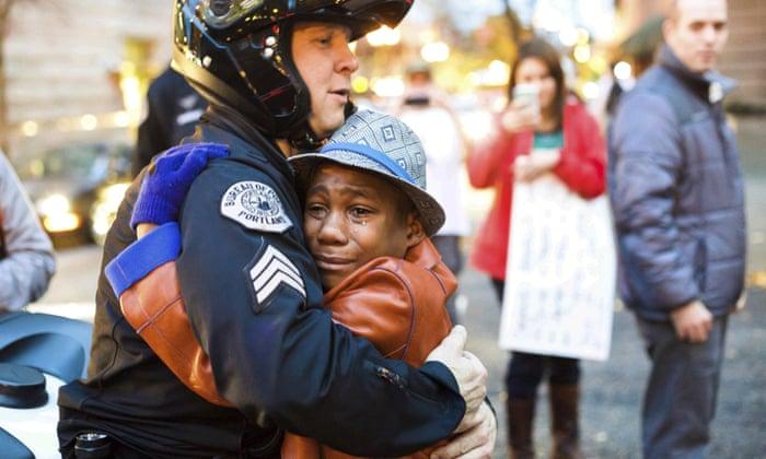 Devonte Hart hugging a white cop at a black lives matter rally.