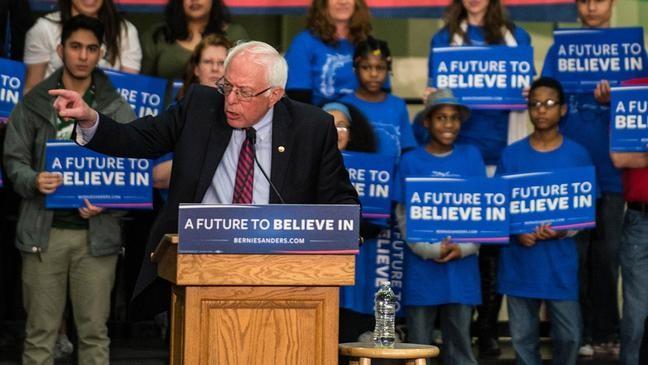 Devonte Hart pops up at a Bernie Sanders rally.