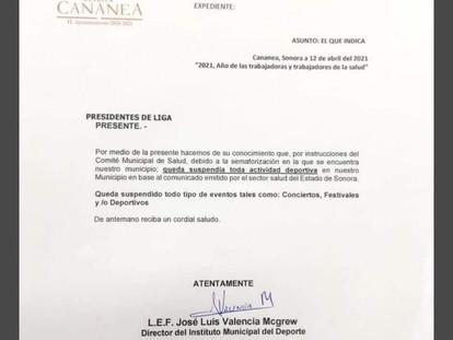 QUEDAN SUSPENDIDAS ACTIVIDADES DEPORTIVAS EN CANANEA, INSTITUTO MUNICIPAL DEL DEPORTE.