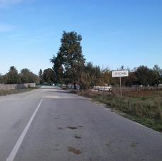 Entrance to Lilewa (Fuerstendorf) village looking toward the northwest