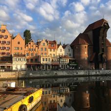 Motlawa Canal in Gdansk showing old crane