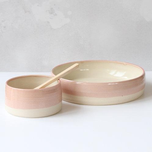 Pink platter and dip bowl set