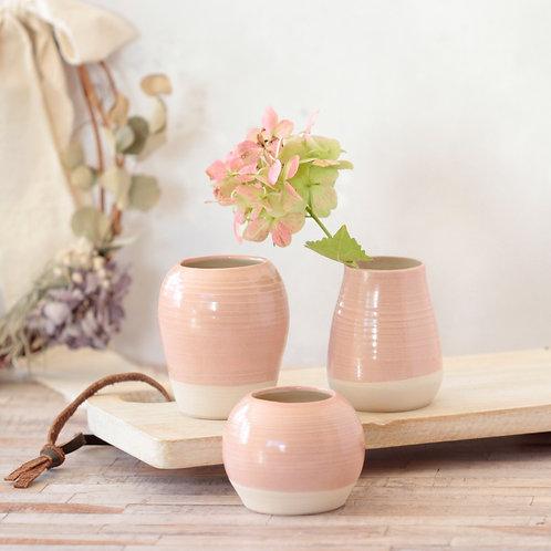 Stoneware bud vase group