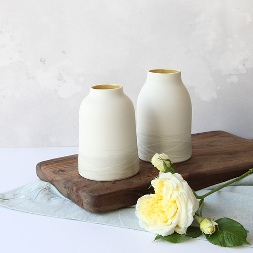 Porcelain vase with mustard interior