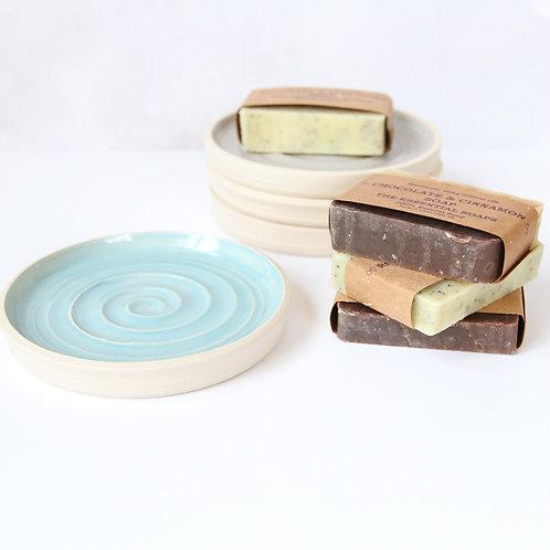Stoneware soap dish and handmade soap