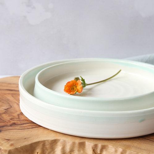Pale green porcelain platter set