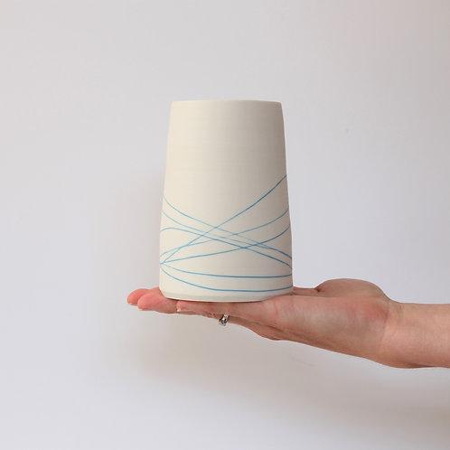 Large porcelain vase with slip inlay detail