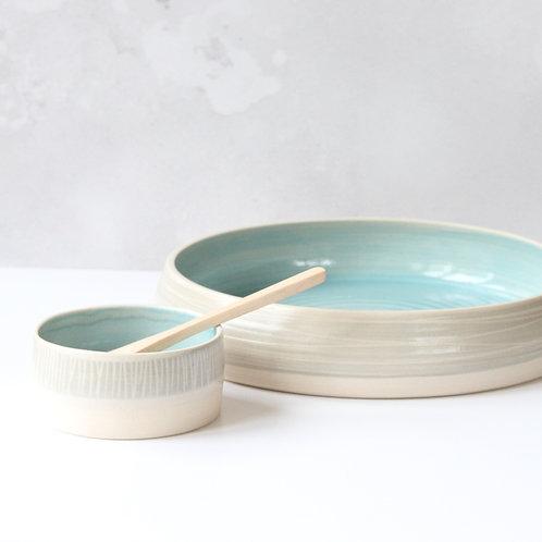 Large stoneware platter and dip bowl set