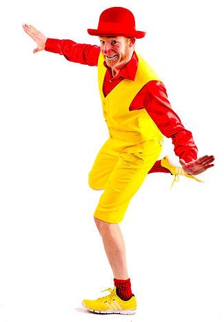 Klovnen Mr. Big solo - gul og rød. Cirkus Big