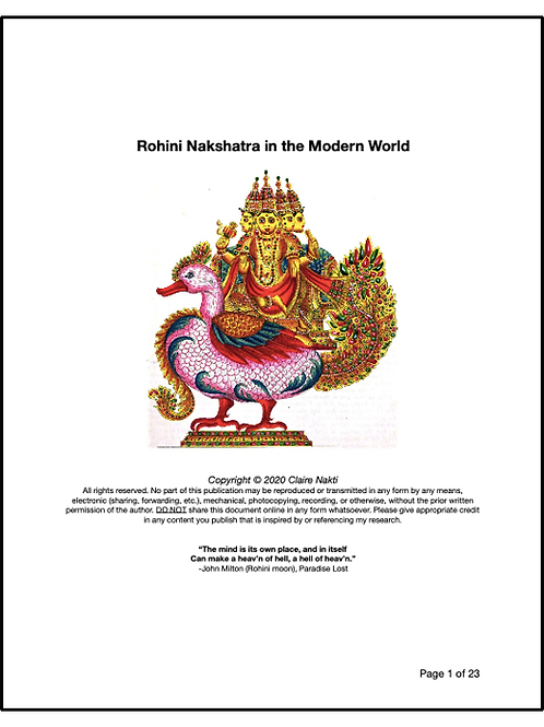THE SEXUAL SECRET OF CREATIVITY: Rohini Nakshatra in the Modern World (22 pages)