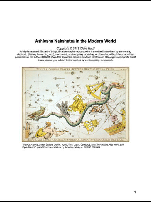 INTRO TO TANTRA: Ashlesha Nakshatra in the Modern World (20 Pages)