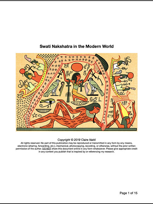 THE SECRETS OF MAYA: Swati Nakshatra in the Modern World (15 pages)