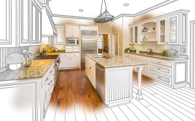 Beautiful Custom Kitchen Design Drawing and Brushed In Photo Combination..jpg