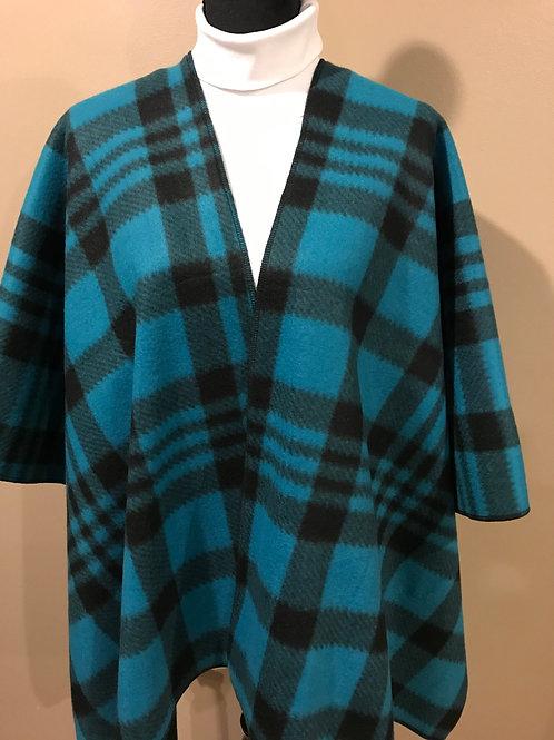 Blue Plaid Fleece Cape FC09
