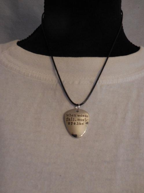 Words Guitar Pick Necklace  U103