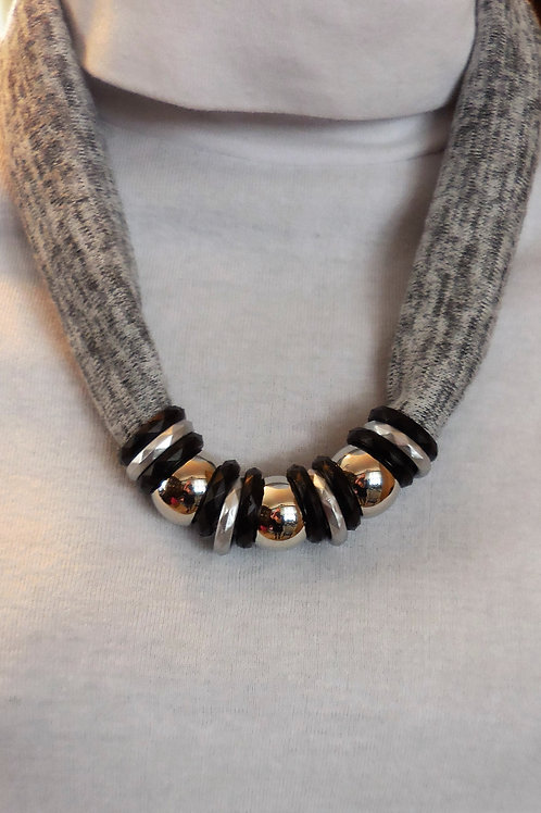 Gray beaded Stretch Necklace  SN222