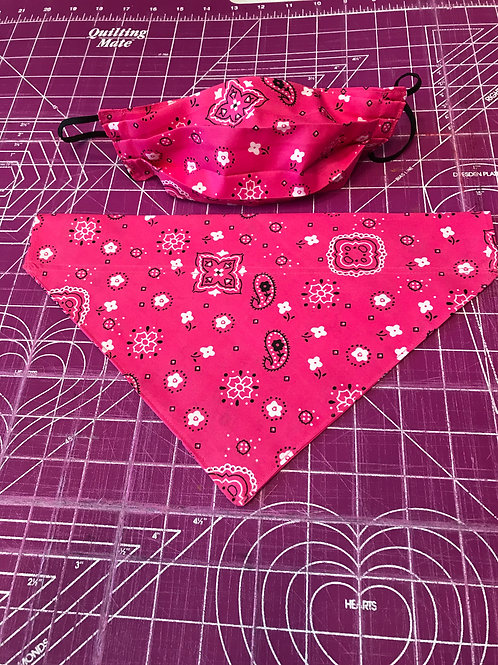 Mask & Dog collar scarf set SET01