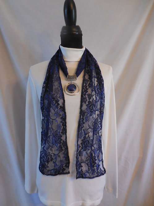 Navy Blue Lace Scarf  LS04
