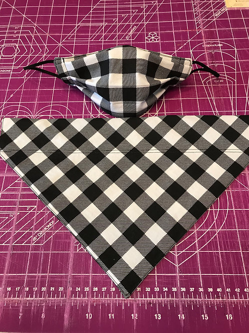 Dog Collar Scarf & Matching Mask  SET03