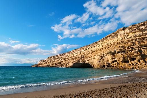 Beautiful Matala beach cliff, Crete island