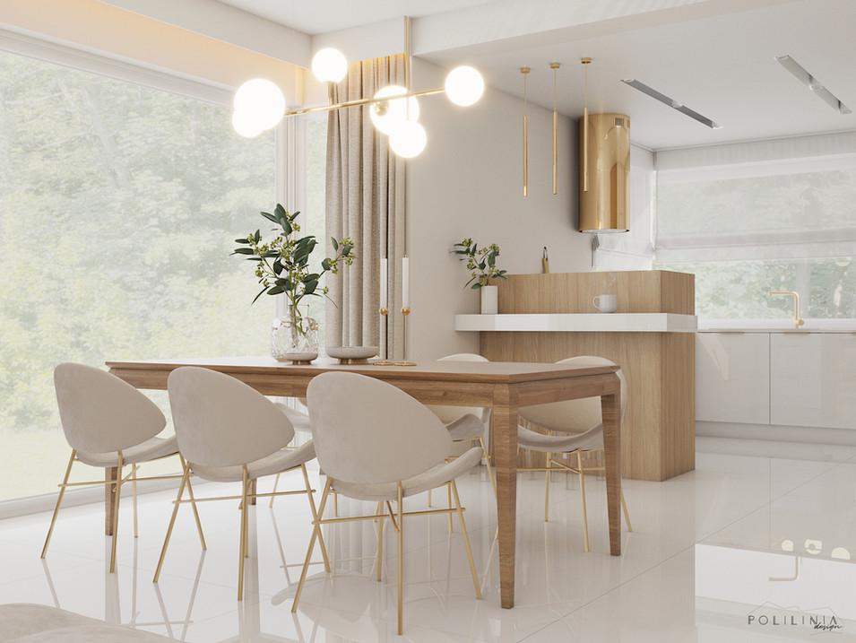 Salon z jadalnią i kuchnią