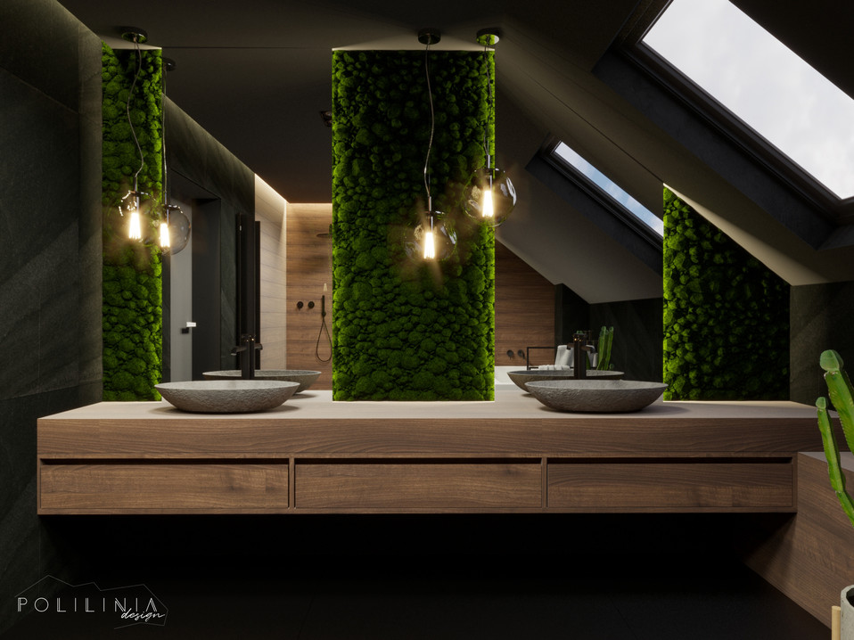 Łazienka na piętrze - dom Moskorzew