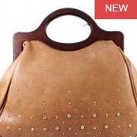 Leather Wood Handle Tote Bag