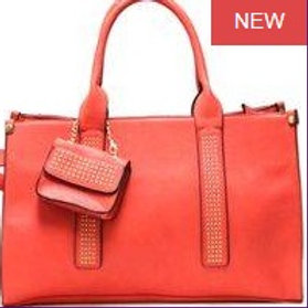 Coral Leather Bags/Matching Wallet